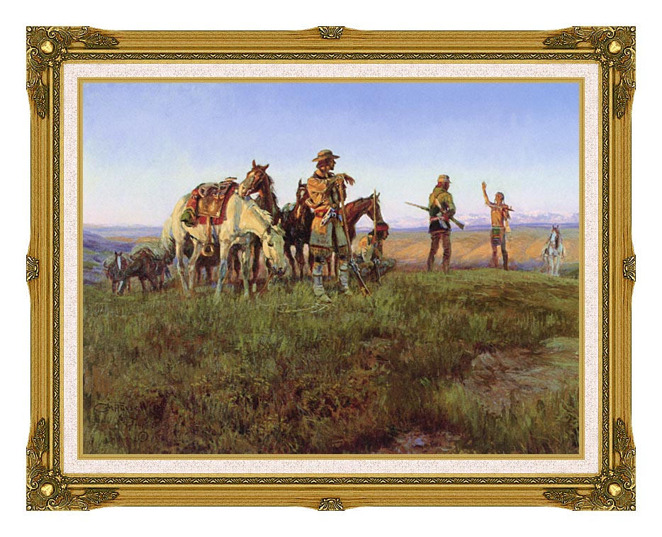 Charles Russell Wildman's Truce with Museum Ornate Frame w/Liner