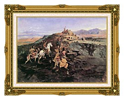 Charles Russell Buffalo Hunt canvas with museum ornate gold frame
