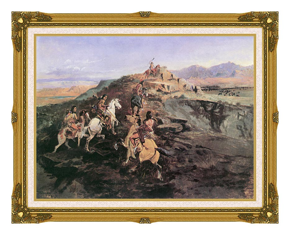Charles Russell Buffalo Hunt with Museum Ornate Frame w/Liner