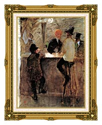 Henri De Toulouse Lautrec At The Bar canvas with museum ornate gold frame