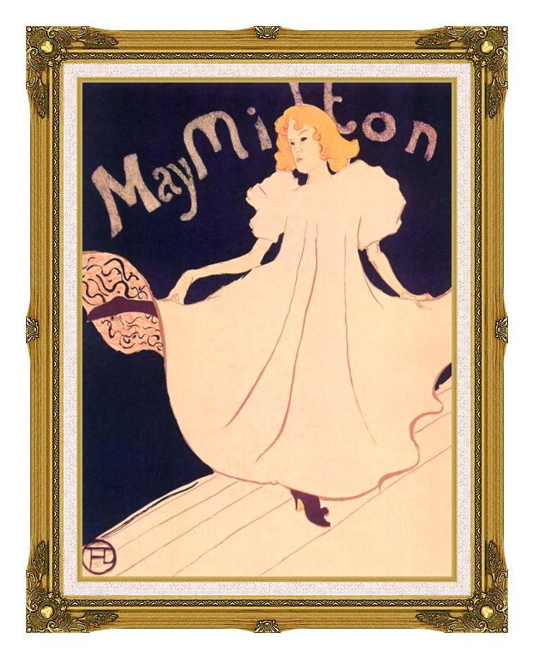 Henri de Toulouse Lautrec May Milton with Museum Ornate Frame w/Liner