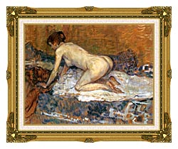 Henri De Toulouse Lautrec Crouching Woman With Red Hair canvas with museum ornate gold frame