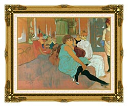 Henri De Toulouse Lautrec In The Salon Of The Rue Des Moulins canvas with museum ornate gold frame
