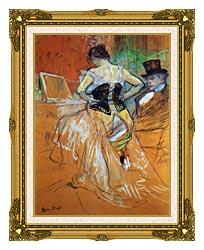 Henri De Toulouse Lautrec Study For Elles Woman In A Corset canvas with museum ornate gold frame