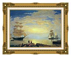 Fitz Hugh Lane Gloucester Harbor At Sunrise canvas with museum ornate gold frame