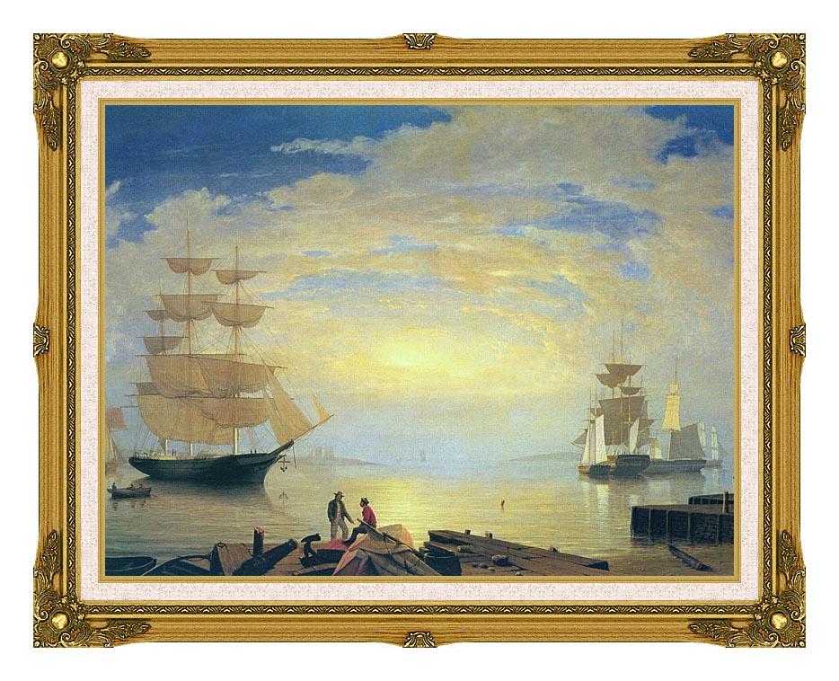 Fitz Hugh Lane Gloucester Harbor At Sunrise with Museum Ornate Frame w/Liner