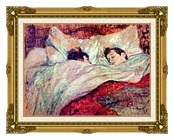 Henri De Toulouse Lautrec The Bed Le Lit canvas with museum ornate gold frame