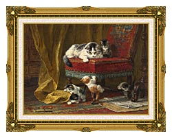 Henriette Ronner Knip Mothers Pride canvas with museum ornate gold frame
