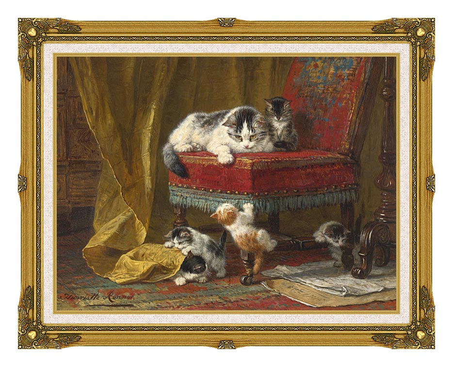 Henriette Ronner Knip Mother's Pride with Museum Ornate Frame w/Liner