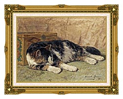 Henriette Ronner Knip Cat Nap canvas with museum ornate gold frame