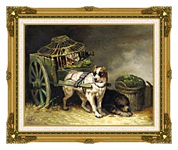 Henriette Ronner Knip Pair Of Hunting Dogs canvas with museum ornate gold frame