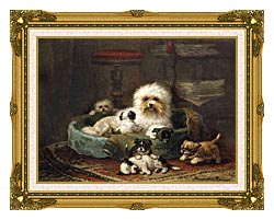 Henriette Ronner Knip Playful Puppies canvas with museum ornate gold frame
