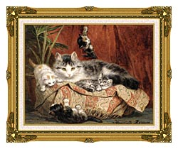 Henriette Ronner Knip Playtime canvas with museum ornate gold frame