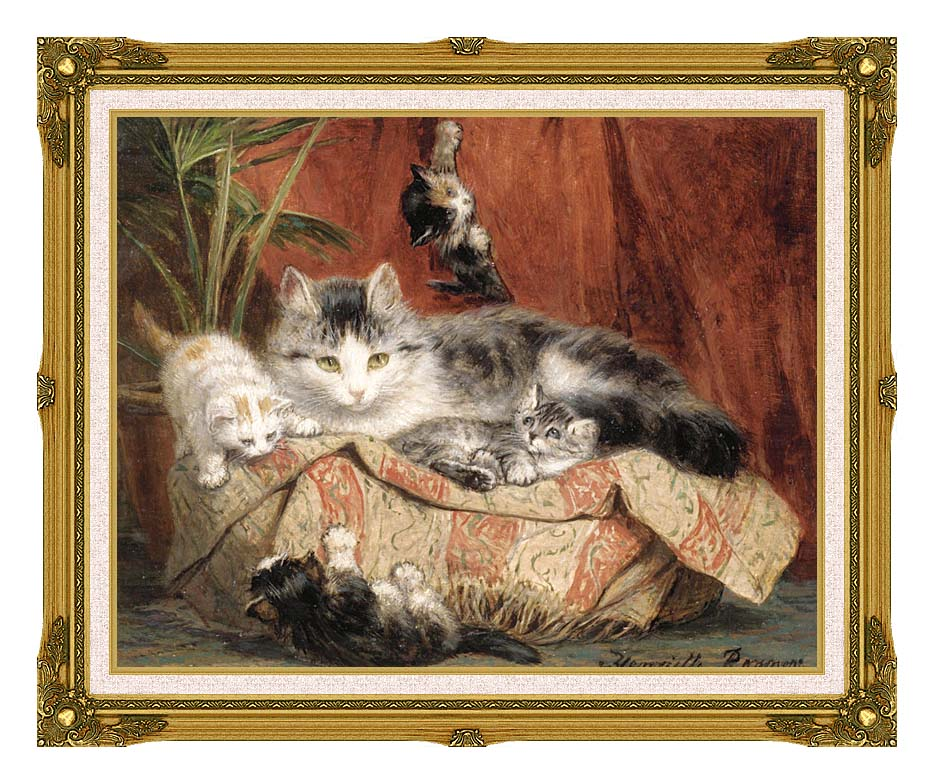 Henriette Ronner Knip Playtime with Museum Ornate Frame w/Liner