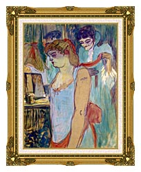 Henri De Toulouse Lautrec The Tattoed Woman Or The Toilette canvas with museum ornate gold frame