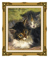 Henriette Ronner Knip Painting Of Two Kittens canvas with museum ornate gold frame
