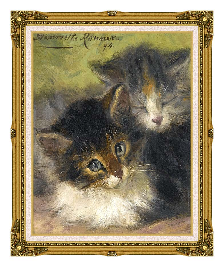 Henriette Ronner Knip Painting of Two Kittens with Museum Ornate Frame w/Liner