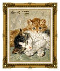 Henriette Ronner Knip Sleepy Kittens canvas with museum ornate gold frame