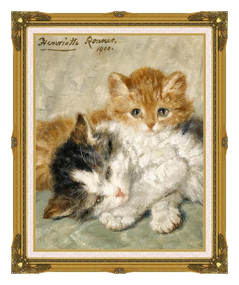Henriette Ronner Knip Sleepy Kittens with Museum Ornate Frame w/Liner