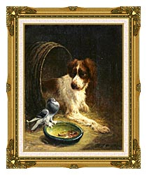 Henriette Ronner Knip Spaniel Defending His Dinner canvas with museum ornate gold frame