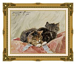Henriette Ronner Knip The Awakening canvas with museum ornate gold frame