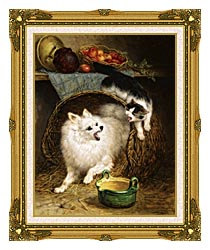 Henriette Ronner Knip The Intruder canvas with museum ornate gold frame