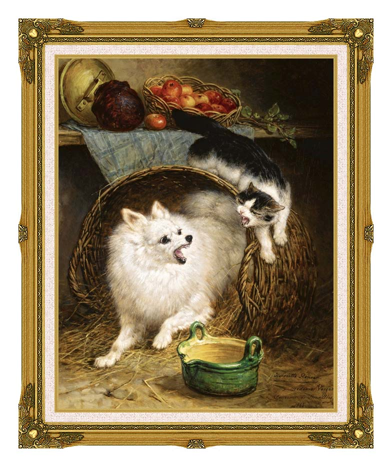 Henriette Ronner Knip The Intruder with Museum Ornate Frame w/Liner