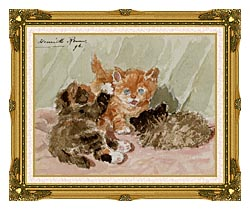 Henriette Ronner Knip The Jester canvas with museum ornate gold frame