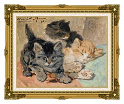 Henriette Ronner Knip Three Kittens canvas with museum ornate gold frame
