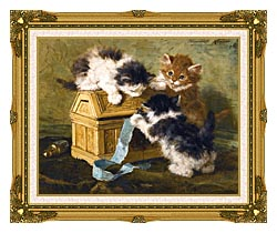 Henriette Ronner Knip Three Kittens With A Casket And Blue Ribbon canvas with museum ornate gold frame