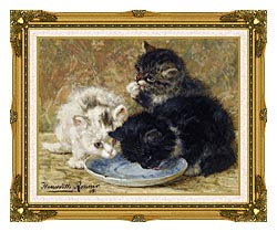 Henriette Ronner Knip Three Kittens Dinnertime canvas with museum ornate gold frame
