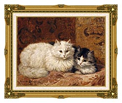 Henriette Ronner Knip Two Cats On A Cushion canvas with museum ornate gold frame