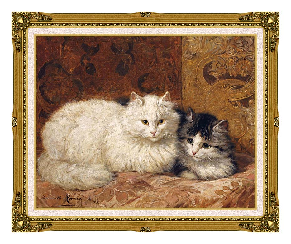 Henriette Ronner Knip Two Cats on a Cushion with Museum Ornate Frame w/Liner
