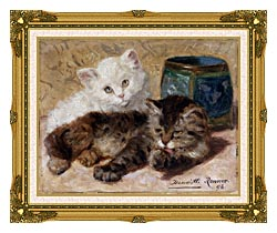 Henriette Ronner Knip Two Cute Kittens canvas with museum ornate gold frame