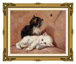 Henriette Ronner Knip Two Kittens canvas with museum ornate gold frame