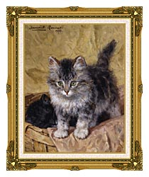Henriette Ronner Knip Two Kittens In A Basket canvas with museum ornate gold frame