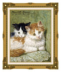 Henriette Ronner Knip Two Kittens Sitting On A Cushion canvas with museum ornate gold frame