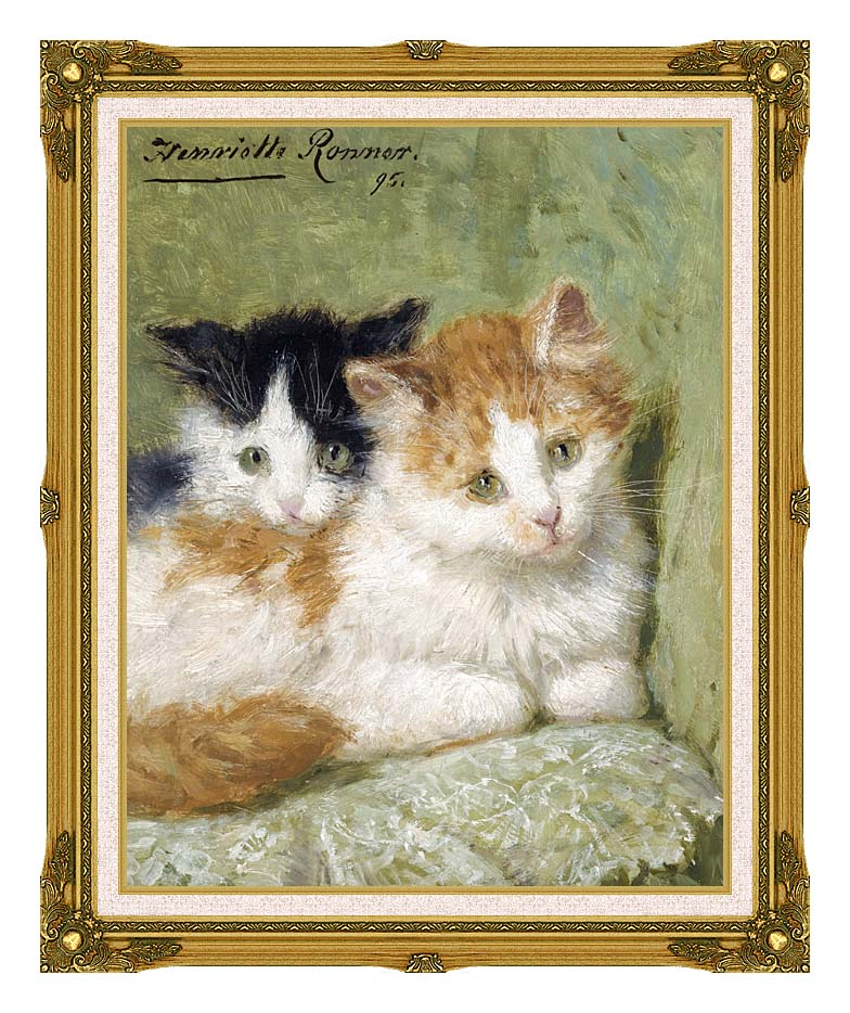 Henriette Ronner Knip Two Kittens Sitting on a Cushion with Museum Ornate Frame w/Liner