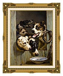 Henriette Ronner Knip Waiting For A Meal canvas with museum ornate gold frame