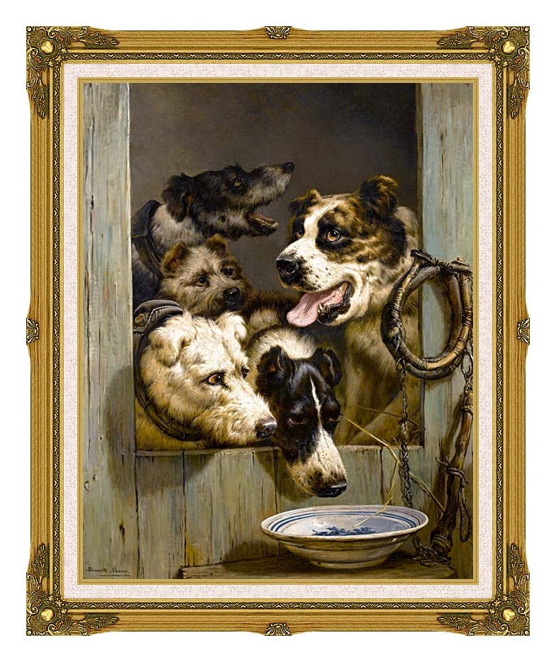 Henriette Ronner Knip Waiting for a Meal with Museum Ornate Frame w/Liner