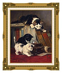 Henriette Ronner Knip Watching The Prey canvas with museum ornate gold frame