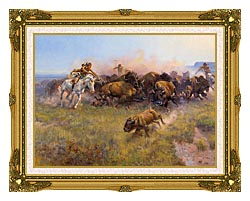 Charles Russell Buffalo Hunt No 39 canvas with museum ornate gold frame