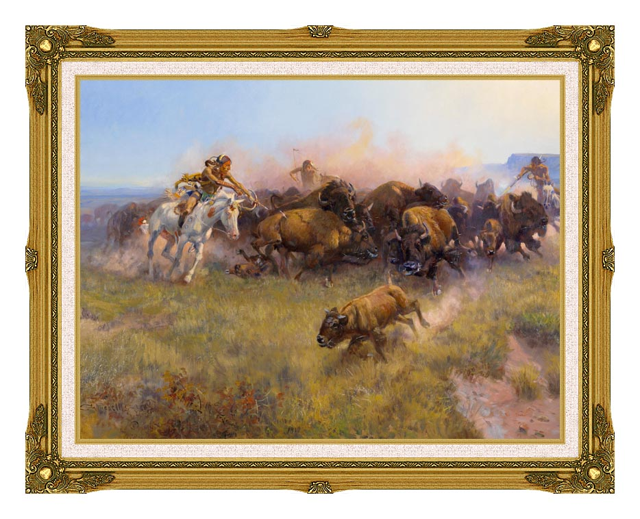 Charles Russell Buffalo Hunt No. 39 with Museum Ornate Frame w/Liner