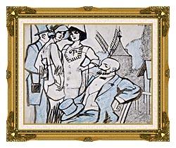 Juan Gris Aux Courses Des Longchamps canvas with museum ornate gold frame