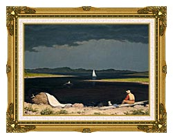 Martin Johnson Heade Approaching Thunder Storm canvas with museum ornate gold frame