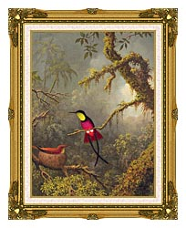 Martin Johnson Heade A Pair Of Nesting Crimson Topaz Hummingbirds canvas with museum ornate gold frame