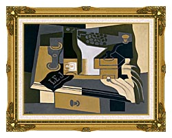 Juan Gris Coffee Grinder canvas with museum ornate gold frame