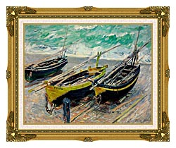 Claude Monet Three Fishing Boats canvas with museum ornate gold frame
