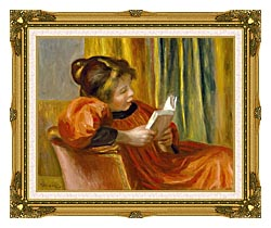 Pierre Auguste Renoir Girl Reading canvas with museum ornate gold frame