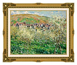 Claude Monet Flowering Plum Trees canvas with museum ornate gold frame